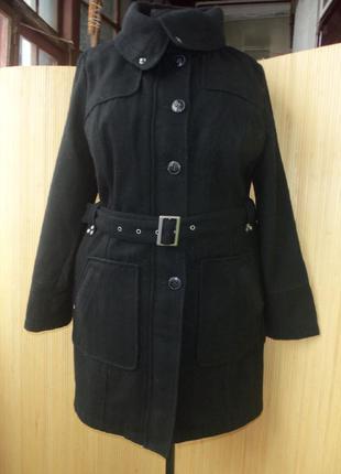 Тёплое немецкое шерстяное пальто с поясом leross 42/44