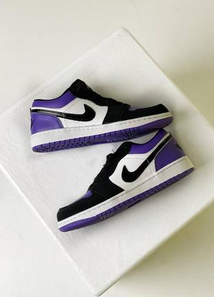 ❤ женские фиолетовые кожаные кроссовки  nike air jordan 1  low court purple all ❤1 фото