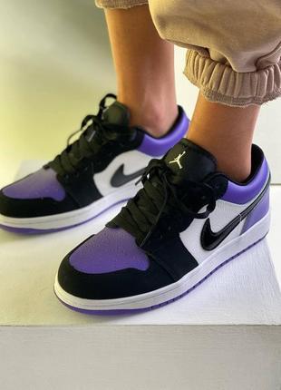 ❤ женские фиолетовые кожаные кроссовки  nike air jordan 1  low court purple all ❤9 фото