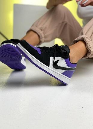 ❤ женские фиолетовые кожаные кроссовки  nike air jordan 1  low court purple all ❤5 фото