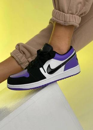 ❤ женские фиолетовые кожаные кроссовки  nike air jordan 1  low court purple all ❤6 фото