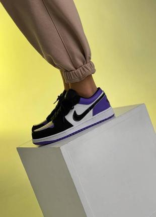 ❤ женские фиолетовые кожаные кроссовки  nike air jordan 1  low court purple all ❤2 фото