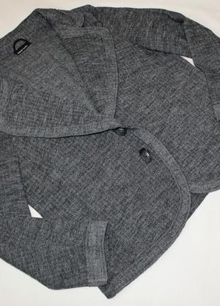 Bianca шерстяной трикотажный пиджак кофта кардиган  серого цвета 100 % шерсть uk 18 бол