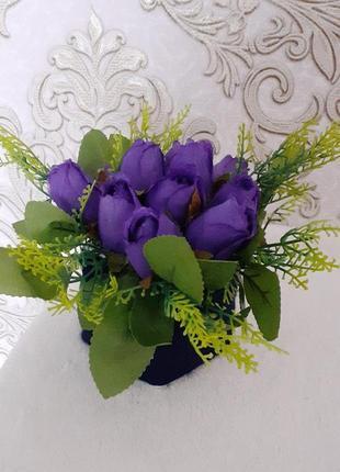 Букет троянда бутон фіолетова