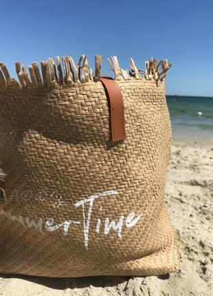 Сумка шоппер соломенная пляжная