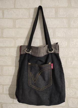 Стильная джинсовая сумка на молнии, с карманом. бренд оriflame vision