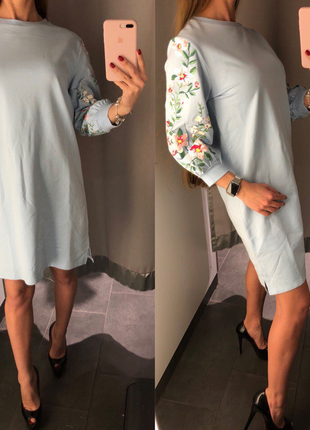 Нежно голубое хлопковое платье fb sister размер xs