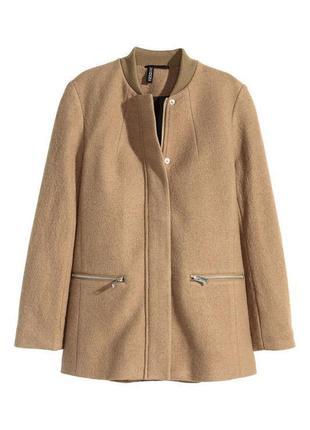 Утепленный бомбер пальто шерсть