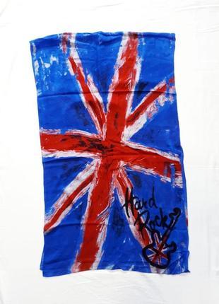 Большой шарф hard rock в английском стиле унисекс вискозный шёлк