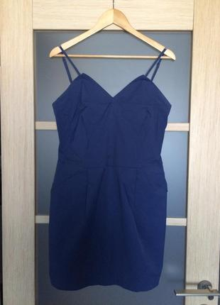Синее коктейльное мини - платье (бесплатная доставка)