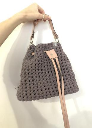 Вязаная сумка из трикотажа