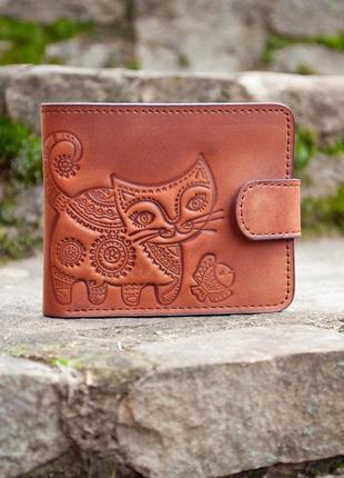 9 отделов маленький кожаный кошелек женский рыжий котик