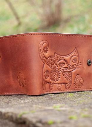 9 отделов маленький кожаный кошелек женский рыжий котик2 фото