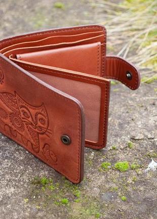 9 отделов маленький кожаный кошелек женский рыжий котик3 фото