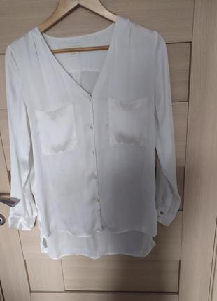 Красивая базовая белая екологичная рубашка блузка