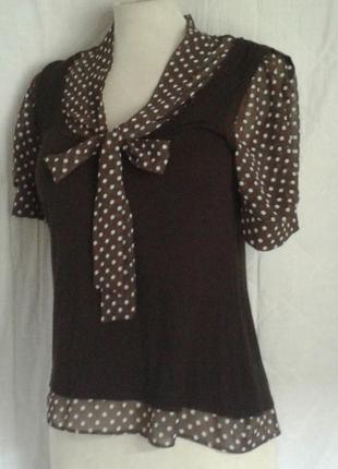 Трикотажная блузочка с шифоновыми вставками, м