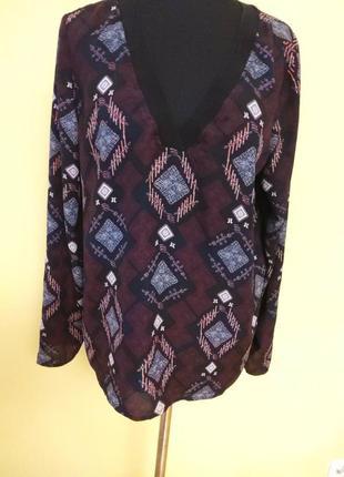 Бордовая блуза.кофта с принтом oliver раз.38-40