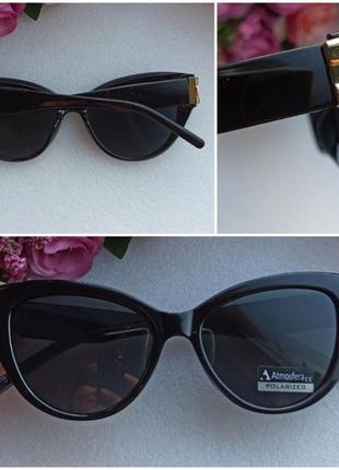 Новые модные очки лисички с бантиками по бокам, с поляризацией, черные
