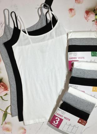 Комплект майок 3шт / набор базовых маек esmara lingerie
