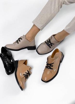 Низкие туфельки из натуральной кожи и лака