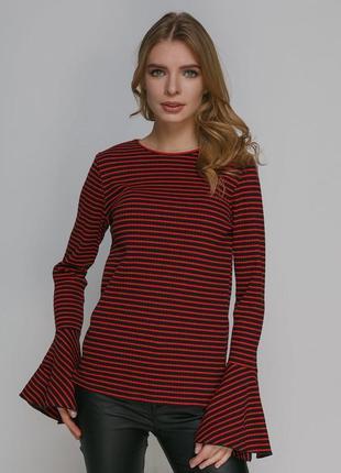 Zara стильный джемпер в полоску рукав клеш размерs/m