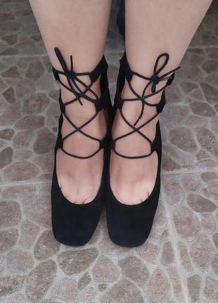 Туфли замшевые квадратный носок италия