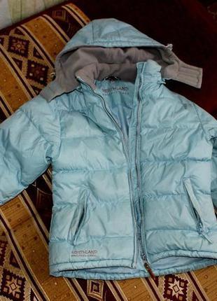 Теплая зимняя куртка northland professional пуховик нежно-голубого цвета