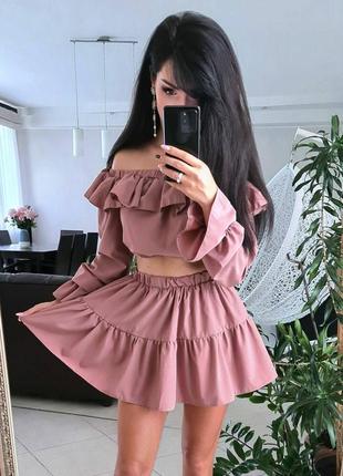Костюм юбка шорты и топ со спущенными плечами