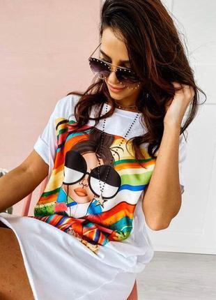 Платье-футболка 2 цвета (с,м, л, хл) , летнее платье, длинная футболка (арт 314)2 фото