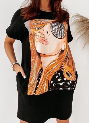 Платье-футболка 2 цвета, летнее платье, длинная футболка, платье оверсайз (арт 100297)4 фото