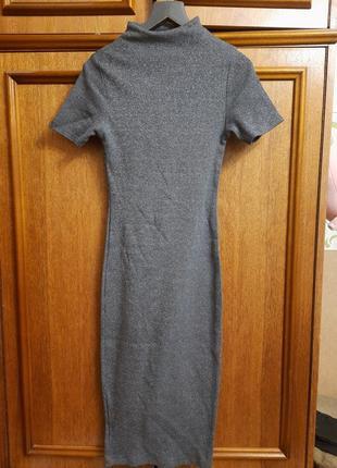 Серебристое платье-чулок миди