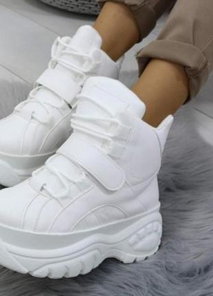 Демисезонные высокие кроссовки сникерсы массивная подошва в стиле буффало. наложка 💋