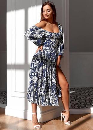Элегантное летнее платье с разрезом 11759-4
