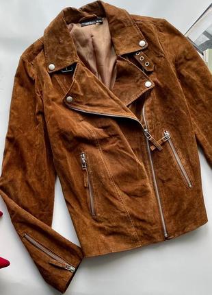 🧥замшевая коричневая кожаная куртка косуха esmara/натуральная замшевая косуха весна-осень🧥