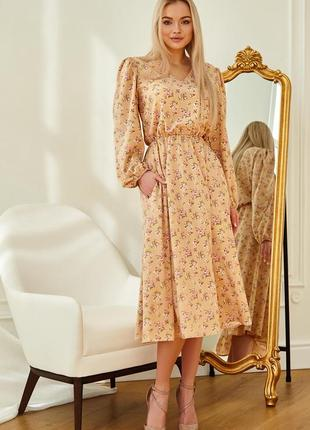 Женское легкое персиковое цветочное платье-миди (4245 jdnn)