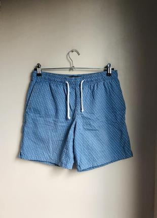Мужские шорты короткие на резинке джинсовые шорти голубые/белые topman s 30/31