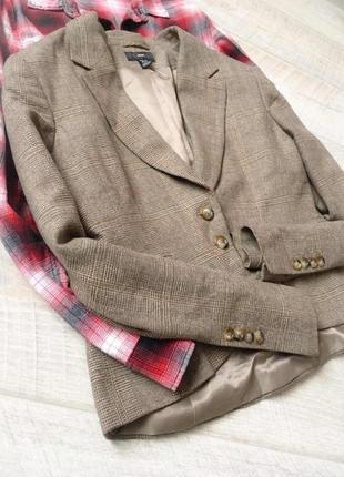 Пиджак коричневый в клетку твид шерсть h& m шёлк