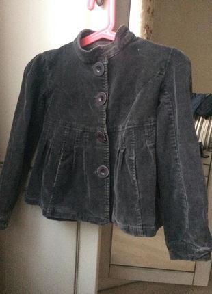 Вельветове пів-пальто/пиджак 134 см/ пальто, піджак