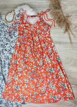 Сарафан платье миди в цветочек свободного кроя
