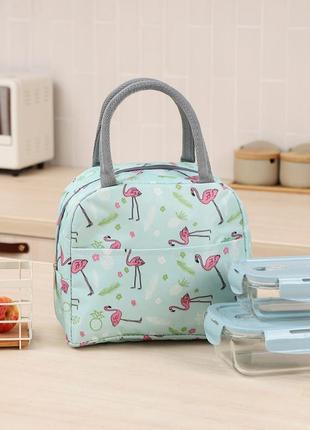 Термосумка, ланч-бокс, сумка для обедов, мятная. фламинго и ананасы.