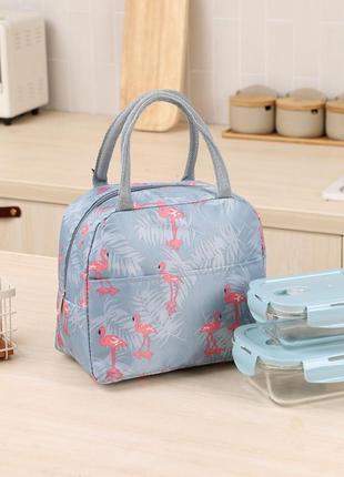 Термосумка, ланч-бокс, сумка для обедов, серая. фламинго и ветви.