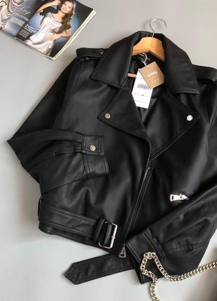 Новая обалденная куртка-косуха oversize с поясом6 фото