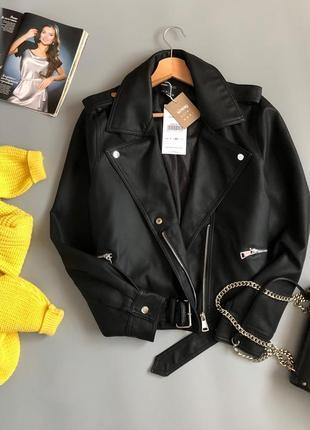Новая обалденная куртка-косуха oversize с поясом5 фото