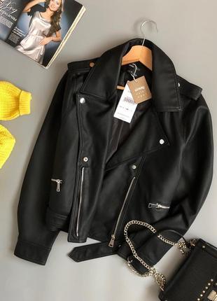 Новая обалденная куртка-косуха oversize с поясом2 фото