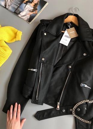 Новая обалденная куртка-косуха oversize с поясом4 фото