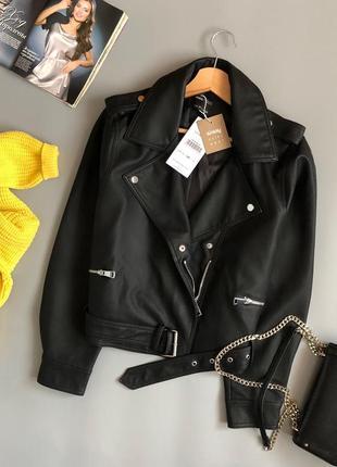 Новая обалденная куртка-косуха oversize с поясом