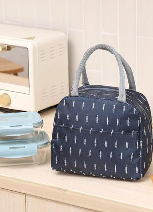 Термосумка, ланч-бокс, сумка для обедов, темно-синяя. веточки.