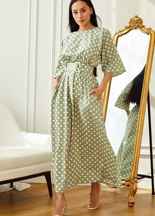 Женское летнее оливковое платье-макси в белый горох (4249 jdnn)