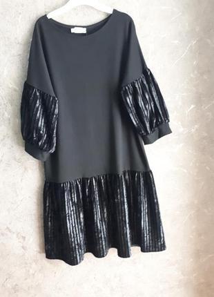 Очень крутое актуальное платье с модными рукавами фонарик плиссе❤