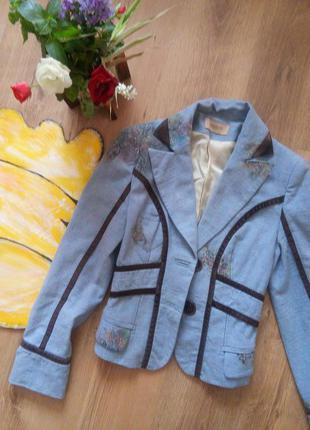 Пиджак, блейзер теплый, классика, голубой